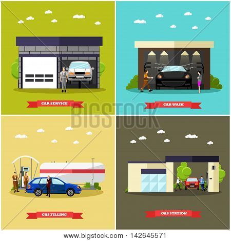 Gas station, car wash and repair shop concept vector banners. Transport related service buildings.