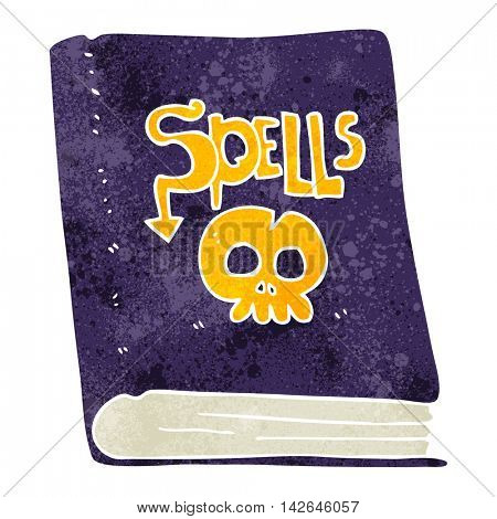freehand retro cartoon spell book