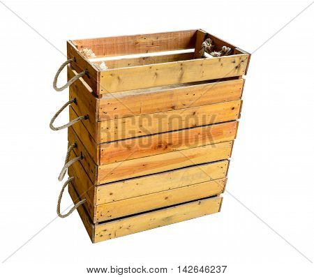 Empty wooden box. Isolated on white background with copy space