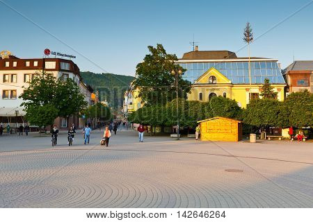 ZILINA, SLOVAKIA - JUNE 03, 2016: Main square in the city of Zilina in central Slovakia on June 03, 2016.