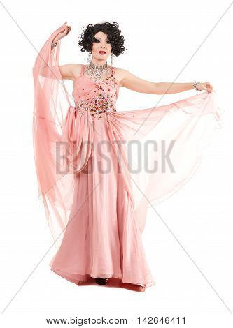 Portrait Drag Queen In Pink Evening Dress Performing