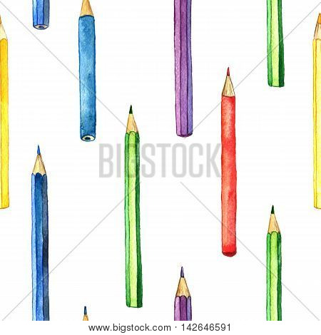 seamless background with color pencis, pattern with school stationery, watercolor drawing template with of art supplies, hand drawn illustration