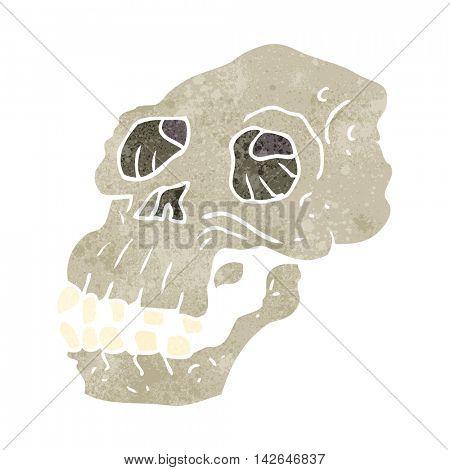 freehand retro cartoon ancient skull