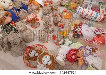 Slavgorod, Belarus - August 14: Fair Exhibition Of Handicrafts. Products From Flax. Embroidery Augus