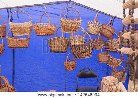 Slavgorod, Belarus - August 14: Fair Exhibition Of Handicrafts. Wood Products. Matryoshka Boxes Spoo