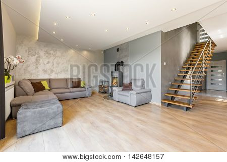 Open Floor Apartment With Stairs Idea