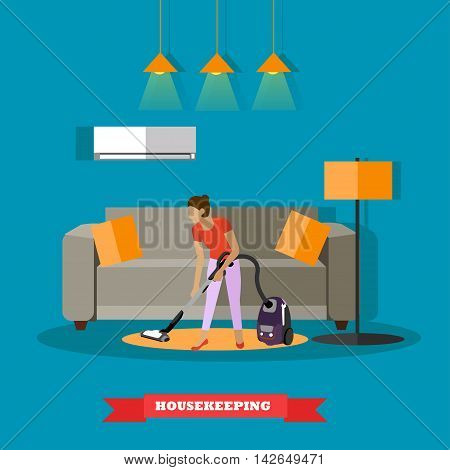 Cleaning service concept vector illustration. Woman cleaning home living room.