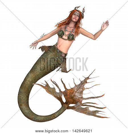 3D Rendering Fantasy Mermaid On White