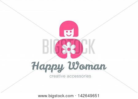 Girl holding Flower Logo design vector Happy Woman Logotype