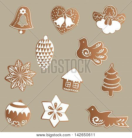 Drawing of a Set of gingerbread with white icing with a Christmas, New Year, theme on a brown background - bell, heart, angel, pine cone, birds, stars, house, tree, ball