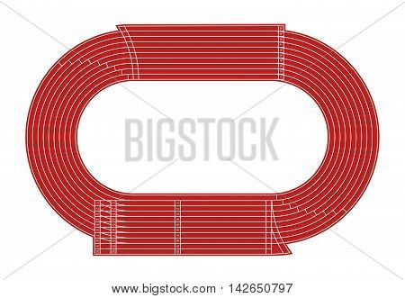 Running athletics stadium vector track. Sport stadium for athletic competition, illustration of standard stadium with a running track