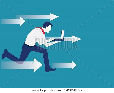 BusinessMan Breakthrough. Business concept illustration. vector flat