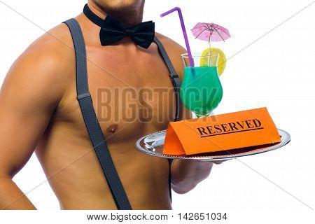 striptezer bartender brought cocktail reserve, on a white background