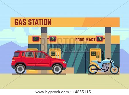 Car and motorcycle at gas filling station. Car refueled at gas station flat vector illustration