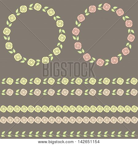 Floral vector set on grey background. Vector.