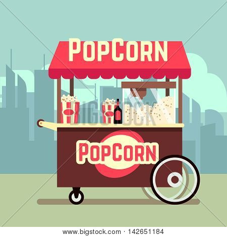 Street food vending cart with popcorn machine. Vector mobile kiosk with pop corn, illustration trolley for sale of popcorn