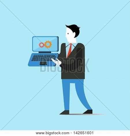 Business man holds laptop concept vector illustration.