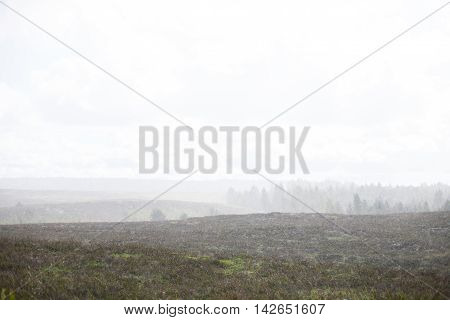 Heavy rainfall approaching on a vast landscape