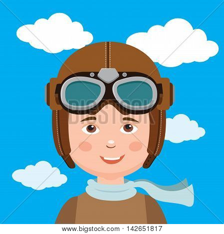 Young Boy Pilot Against Sky Background. Retro Vector Illustration. Boy Pilot Hat.