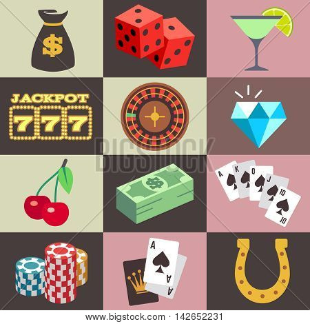 Gambling casino, win money jackpot vector. Set of icon for gambling game, illustration of dice and chip for casino game