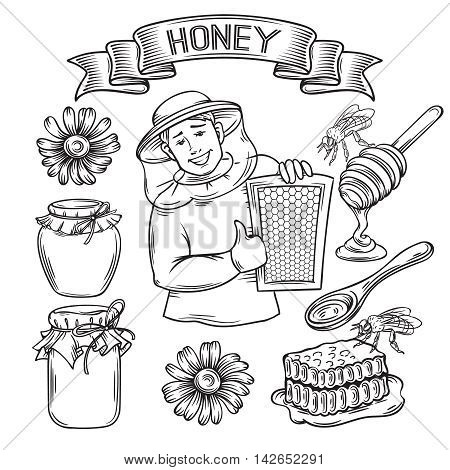 Set hand drawn monochrome icon honey. Decorative honey icons in old style for the design natural healthy food production Honey , labels cards and brochures
