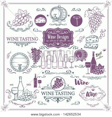 Decorative vintage wine icons. Ink vintage design for wine shop. Vector design elements of wine and calligraphy swirl for the design of wine labels cards brochures.
