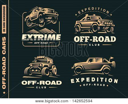 Set of four off-road suv car labels, 4x4 extreme club emblems