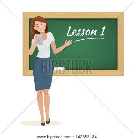 Vector cartoon flat woman teacher stands at the blackboard