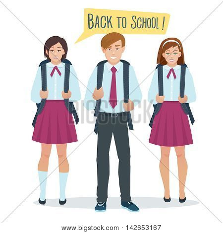 Vector cartoon flat students boy and girl in school uniform stand with a school bag