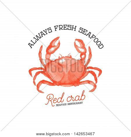 fresh seafood. Red crab seafood restaurant. Hand drawn crab illustration isolated on white background. Design element for logo label emblem sign.
