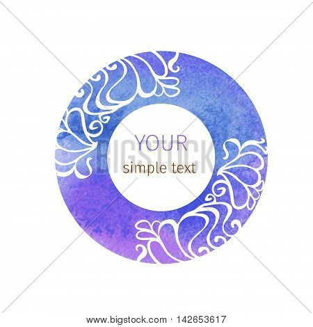 round vector round ornament in Art Nouveau style on watercolor circles on a white background