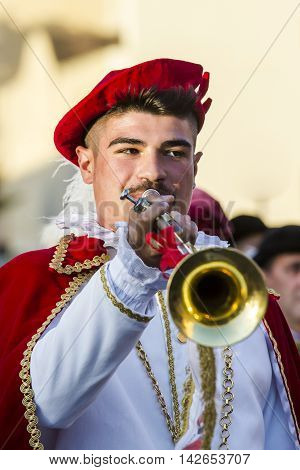 QUARTU S.E., ITALY - July 15, 2016: 30 Sciampitta - International Folklore Festival - Drummers and trumpeters of Oristano - Sardinia