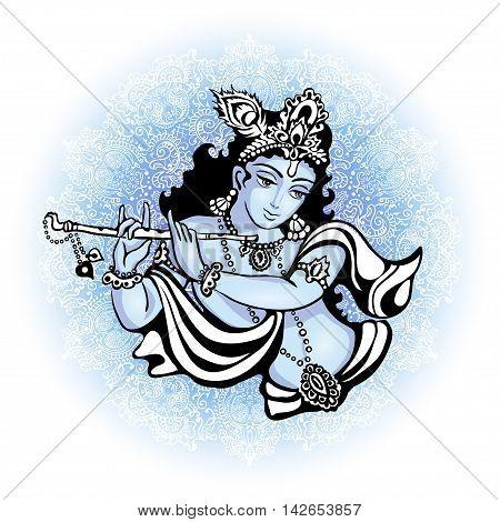 Krishna playing the flute. Vector illustration for the Indian festival of janamashtmi celebration against the background of the mandala