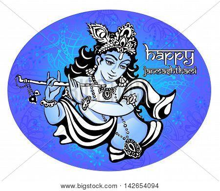 Lord Krishna playing the flute. Vector illustration for the Indian festival of janamashtmi celebration