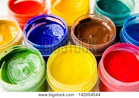 a paints gouache top view close up