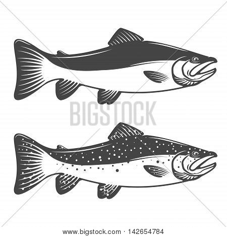 Set of trout icons. Design elements for fishing club or team. Seafood. Vector illustration.