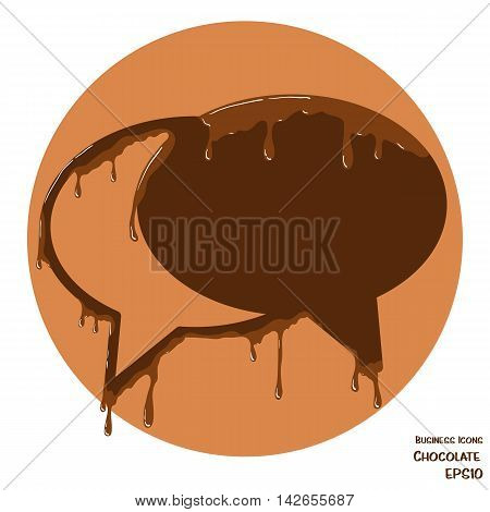 Vector business icon of speech bubbles. Object made from chocolate. Icon with melting chocolate effect.