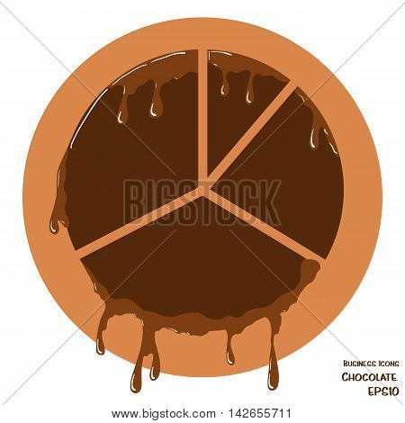 Vector business icon of pie chart. Chart object made from chocolate. Icon with melting chocolate effect.