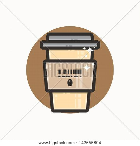 Vector icon of portable coffee cup. Icon is in lineart style. Symbol on brown circular background.
