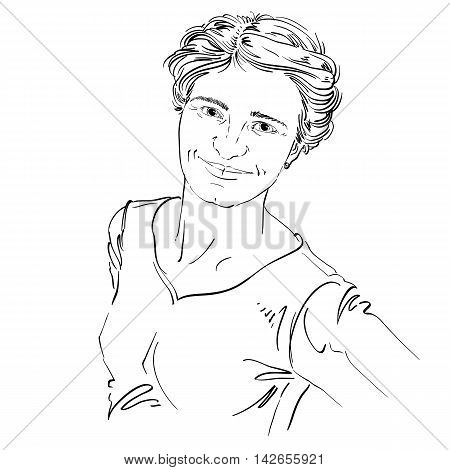 Artistic hand-drawn vector image black and white portrait of delicate kind stylish girl.