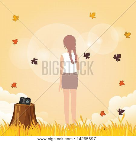 woman leave her camera to enjoy weather fall leave autumn in warm yellow bright outdoor vector