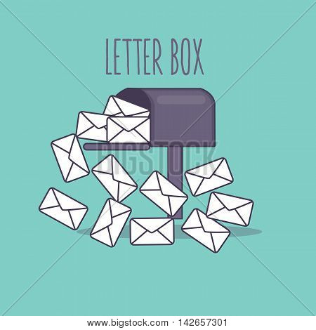 full inbox email mailbox letter box flat icon illustration envelope vector