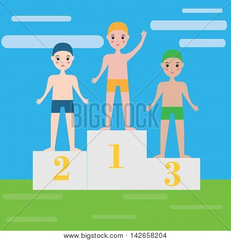 Children swimming sport team. Boys in swimming clothes on pedestal. Kids sport theme
