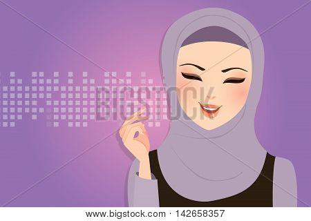 beautiful girl wearing scarf hijab veil smile Islam vector