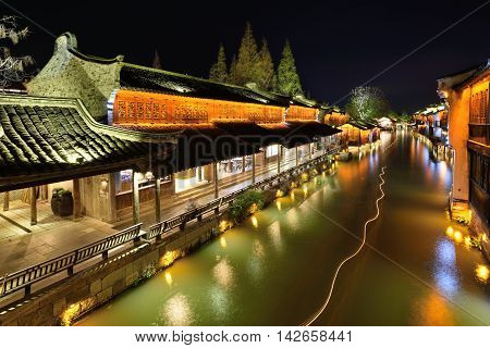 Night scene of Wuzhen. Wuzhen - historic scenic town part of Tongxiang located in northern Zhejiang Province China