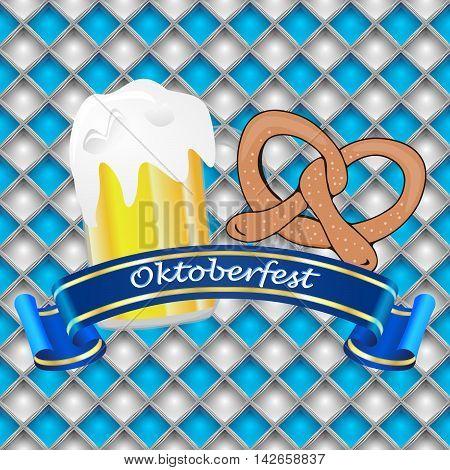 Oktoberfest banner with beer and pretzel on a bavarian background - illustration