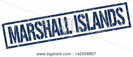 Marshall Islands stamp. blue grunge square isolated sign