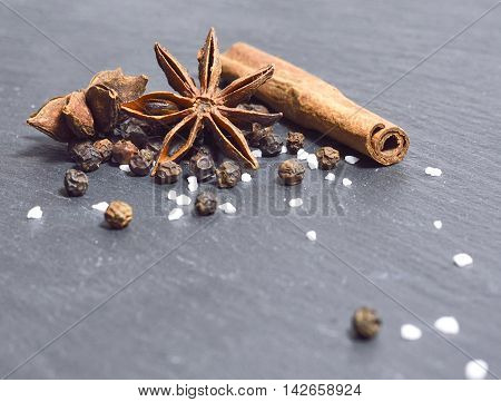 Close-up shot of winter spices with star anise, cinnamon, cloves and salt and peppercorns.