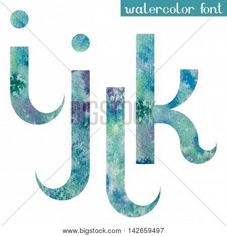 Colorful green-blue watercolor paint alphabet letters I, J, K, L - vector Illustration