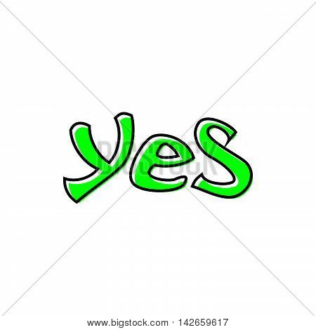 Word yes icon in flat style isolated on white background. Click and choice symbol